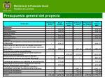 presupuesto general del proyecto