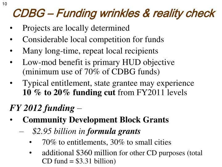 CDBG – Funding wrinkles & reality check