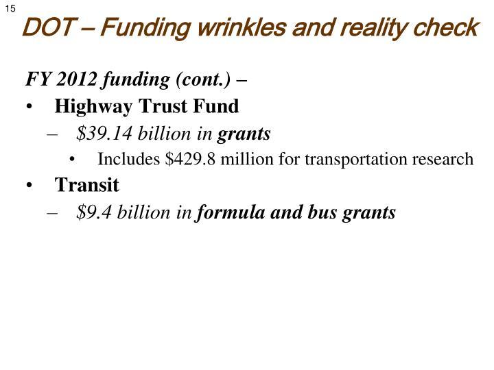 DOT – Funding wrinkles and reality check