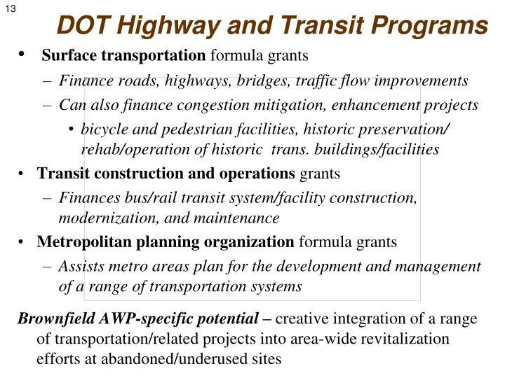 DOT Highway and Transit Programs
