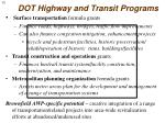 dot highway and transit programs