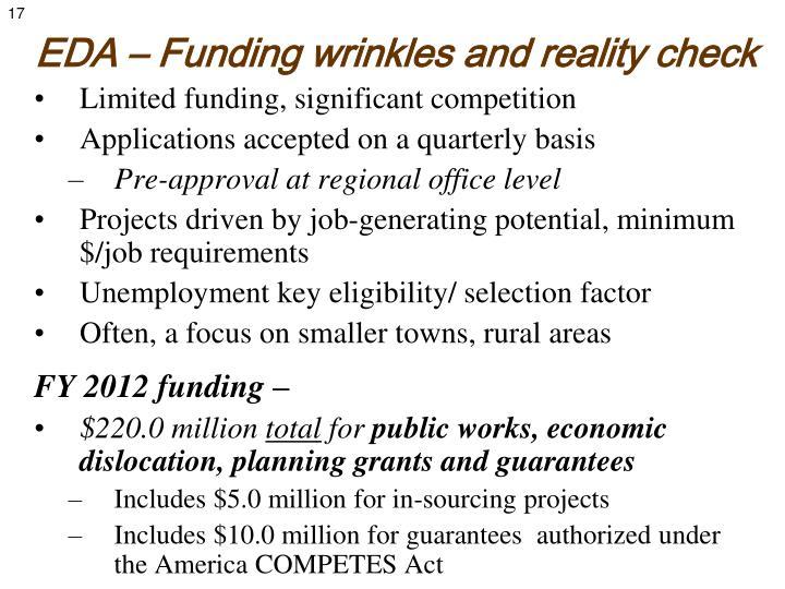 EDA – Funding wrinkles and reality check