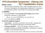 epa brownfield assessment cleanup and rlf capitalization grants