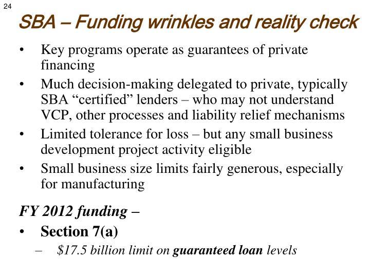 SBA – Funding wrinkles and reality check