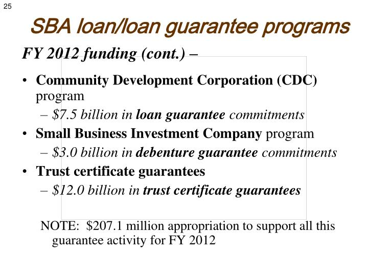SBA loan/loan guarantee programs