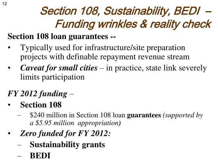 Section 108, Sustainability, BEDI  – Funding wrinkles & reality check