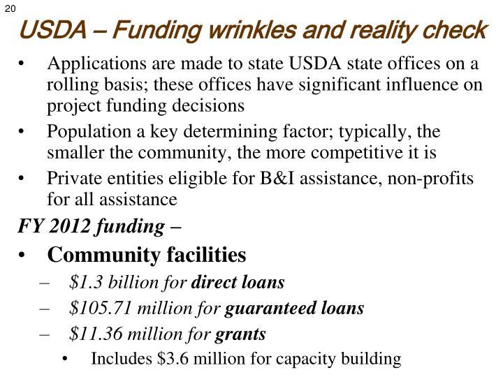 USDA – Funding wrinkles and reality check