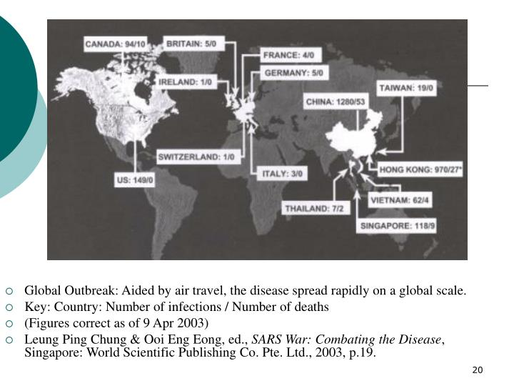 Global Outbreak: Aided by air travel, the disease spread rapidly on a global scale.