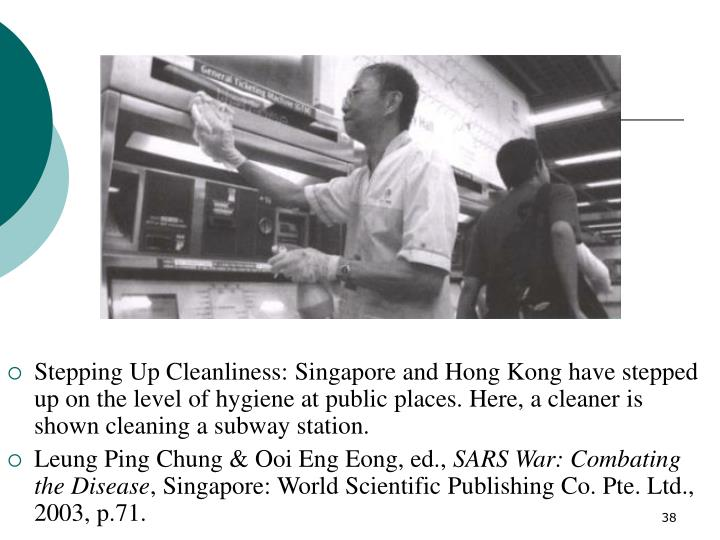 Stepping Up Cleanliness: Singapore and Hong Kong have stepped up on the level of hygiene at public places. Here, a cleaner is shown cleaning a subway station.