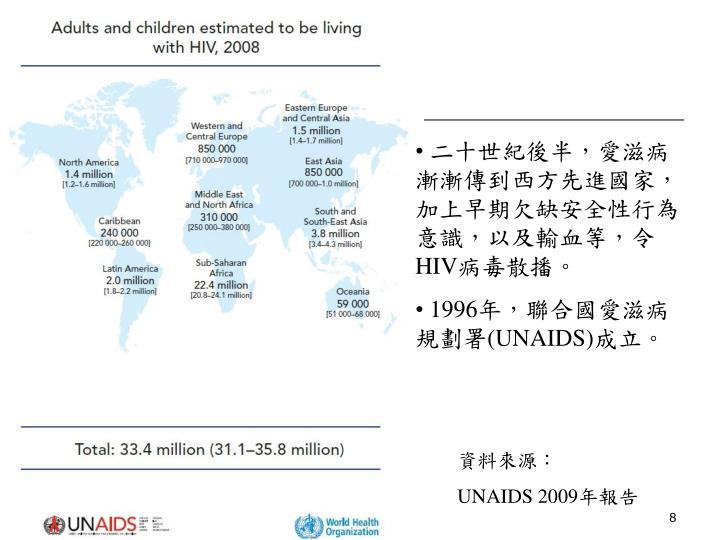 二十世紀後半,愛滋病漸漸傳到西方先進國家,加上早期欠缺安全性行為意識,以及輸血等,令