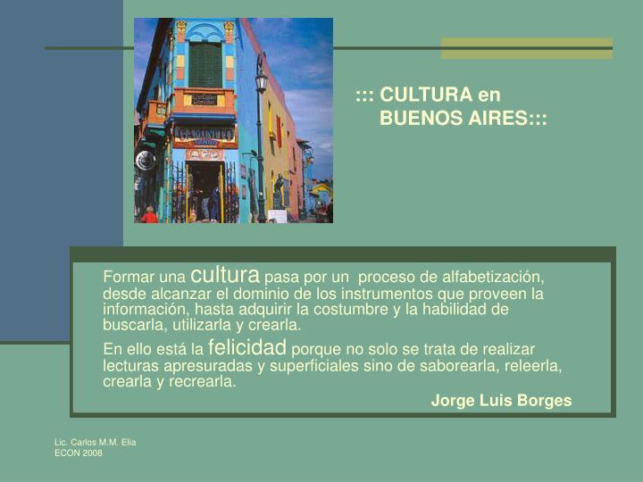::: CULTURA en BUENOS AIRES:::