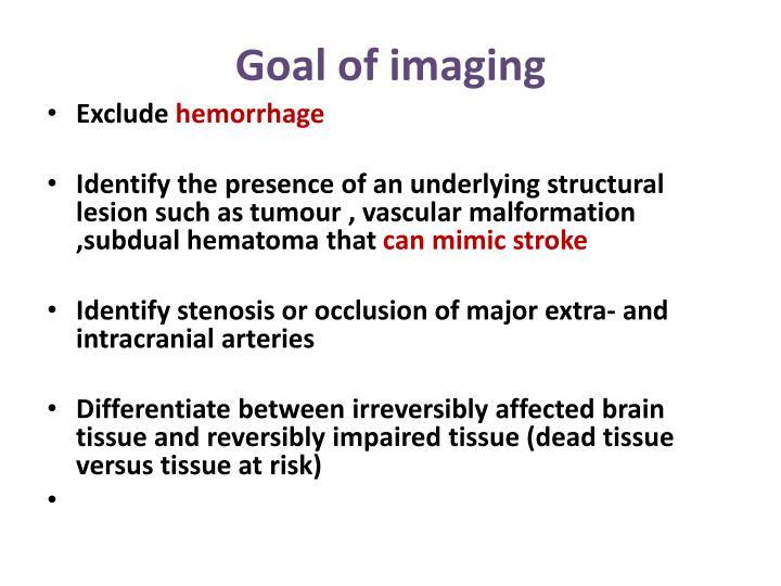 Goal of imaging