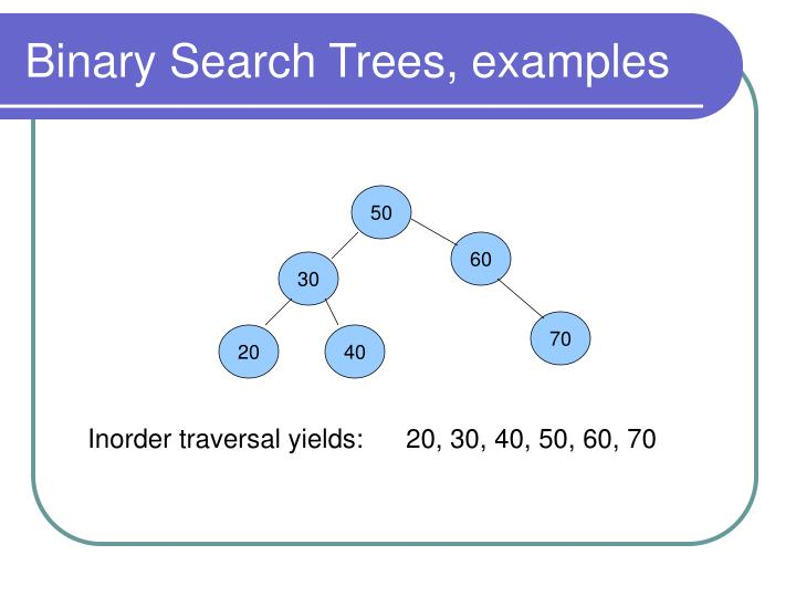 Binary Search Trees, examples