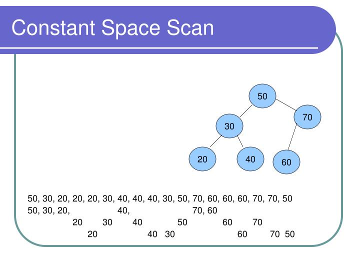 Constant Space Scan