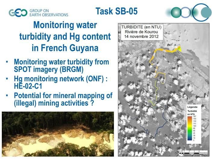 Monitoring water turbidity and Hg content in French Guyana