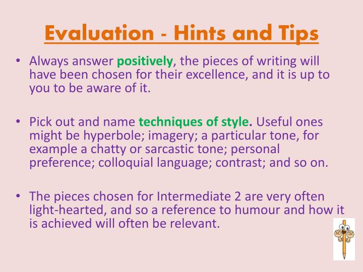 Evaluation - Hints and Tips