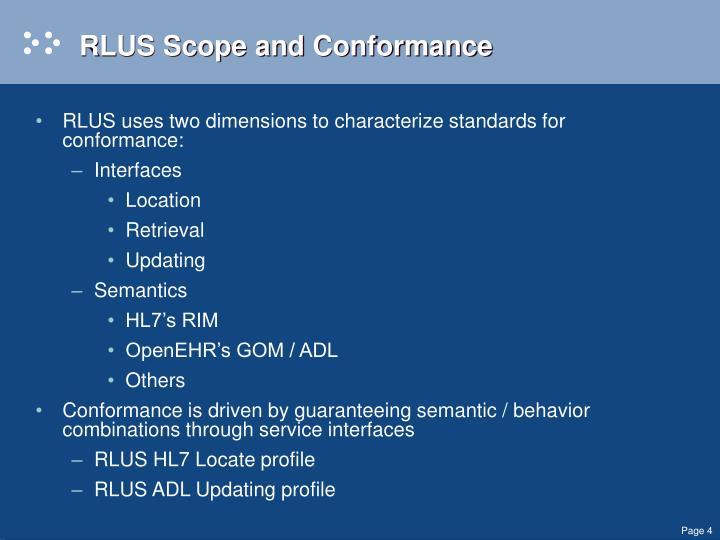 RLUS Scope and Conformance