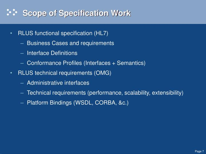 Scope of Specification Work