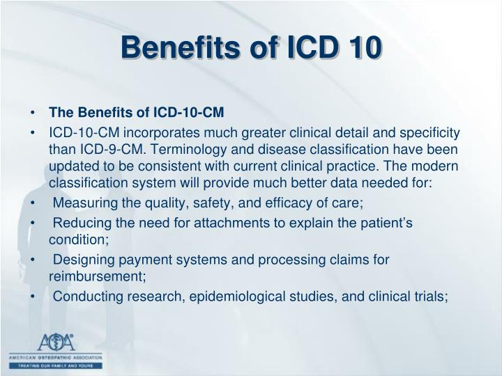 Benefits of ICD 10