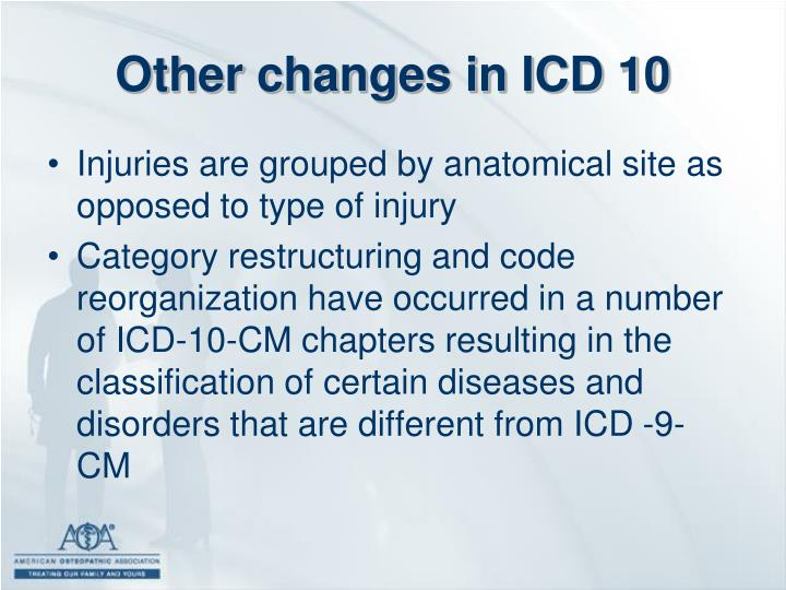 Other changes in ICD 10