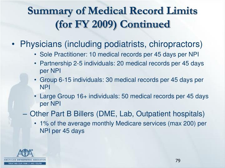 Summary of Medical Record Limits (for FY 2009) Continued