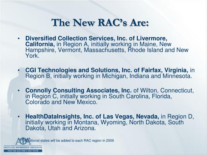 The New RAC's Are: