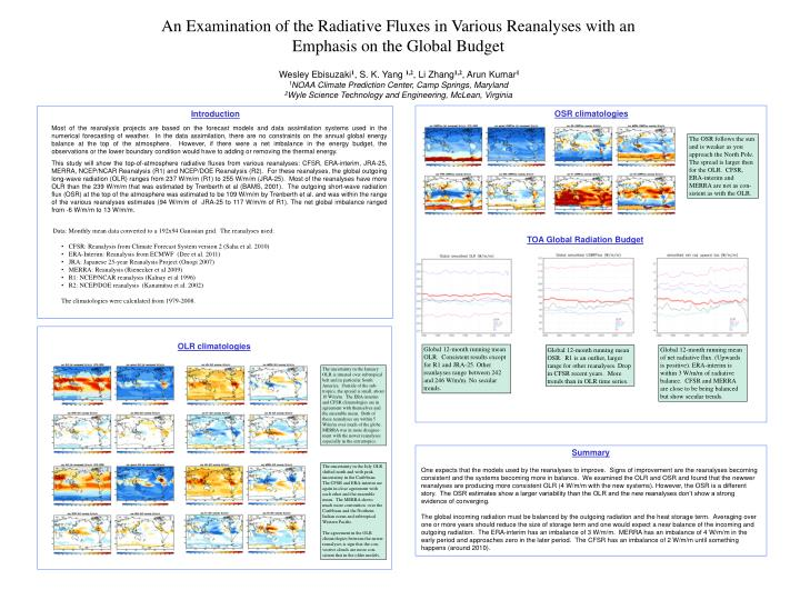 An Examination of the Radiative Fluxes in Various Reanalyses with an