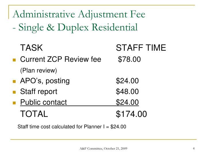 Administrative Adjustment Fee