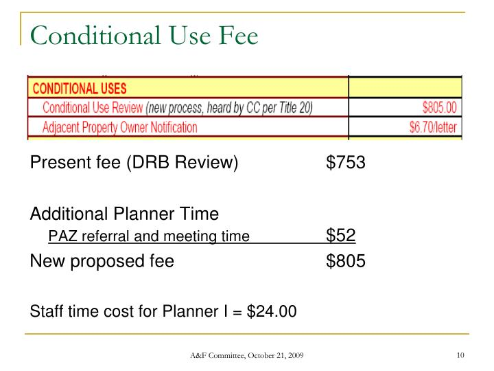 Conditional Use Fee