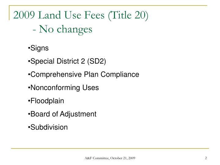 Land Use Fees (Title 20)