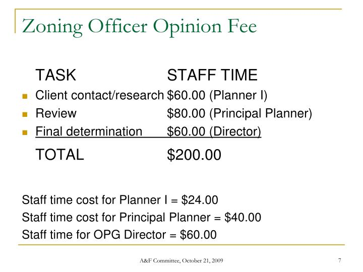 Zoning Officer Opinion Fee