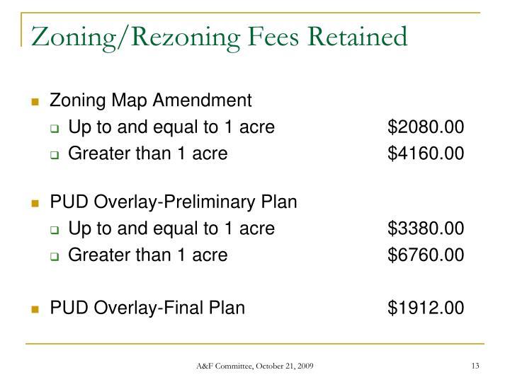 Zoning/Rezoning Fees Retained
