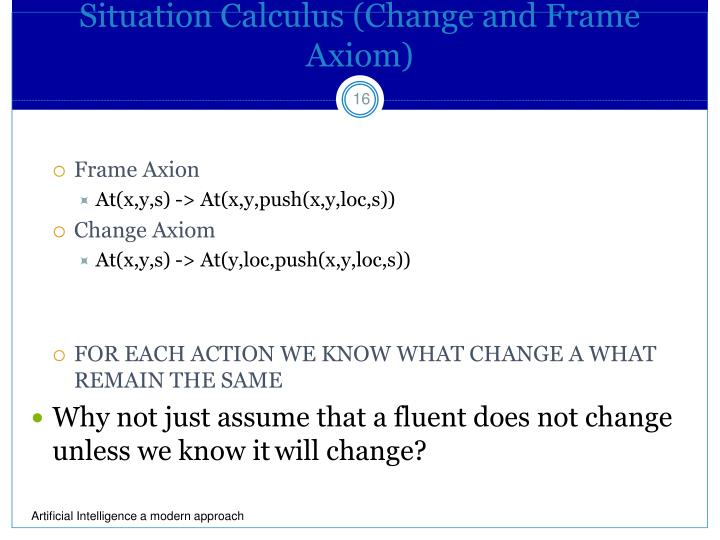 Situation Calculus (Change and Frame Axiom)