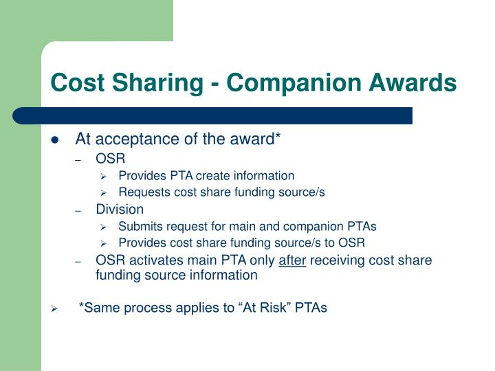 Cost Sharing - Companion Awards