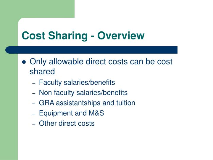 Cost Sharing - Overview
