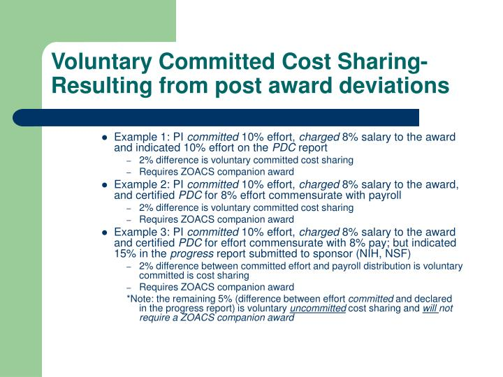 Voluntary Committed Cost Sharing-Resulting from post award deviations