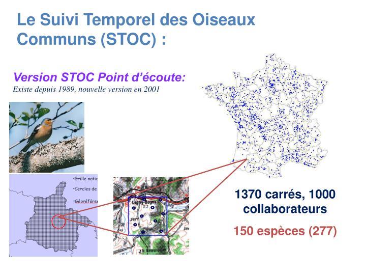 Le Suivi Temporel des Oiseaux Communs (STOC) :