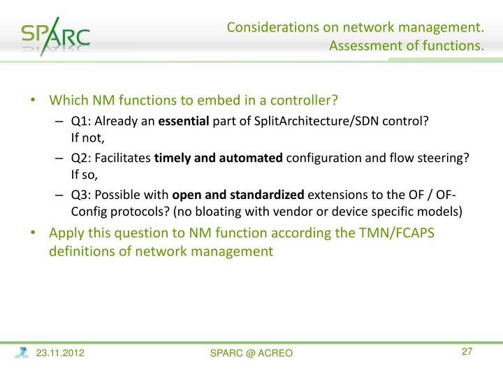 Which NM functions to embed in a controller?