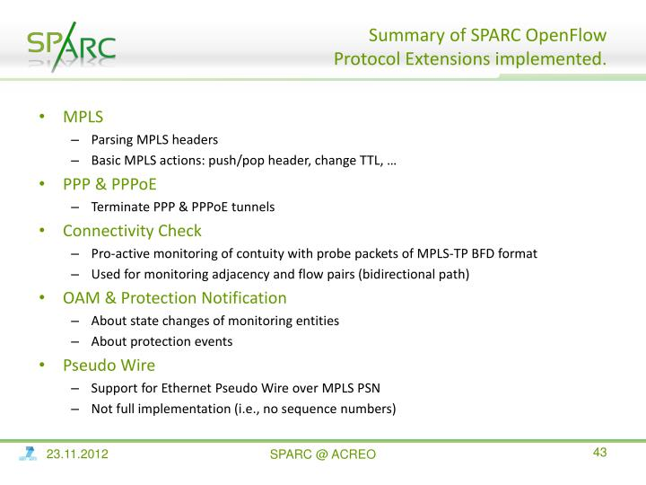 Summary of SPARC OpenFlow