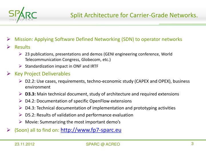 Split Architecture for Carrier-Grade Networks.