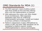 omg standards for mda 1