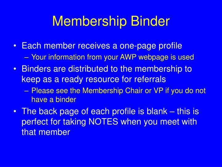 Membership Binder