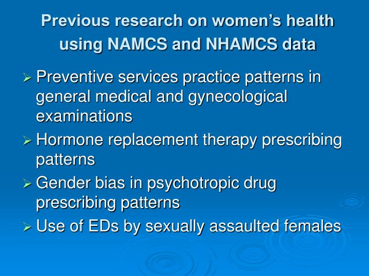 Previous research on women's health using NAMCS and NHAMCS data