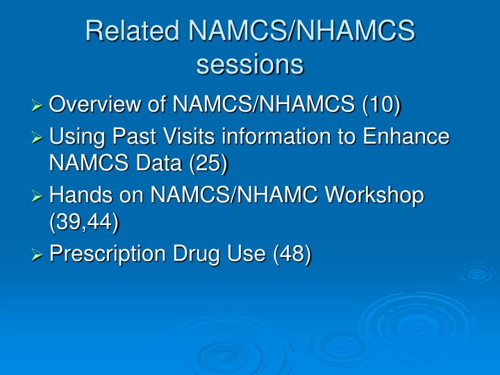 Related NAMCS/NHAMCS sessions