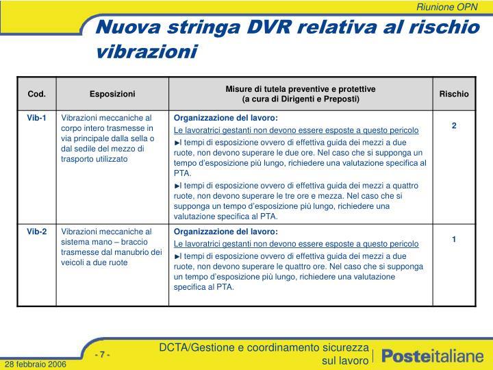Nuova stringa DVR relativa al rischio vibrazioni
