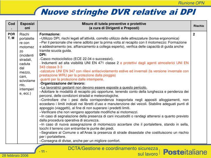 Nuove stringhe DVR relative ai DPI