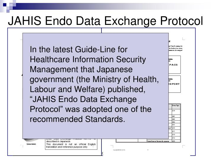 """In the latest Guide-Line for Healthcare Information Security Management that Japanese government (the Ministry of Health, Labour and Welfare) published, """"JAHIS Endo Data Exchange Protocol"""" was adopted one of the recommended Standards."""