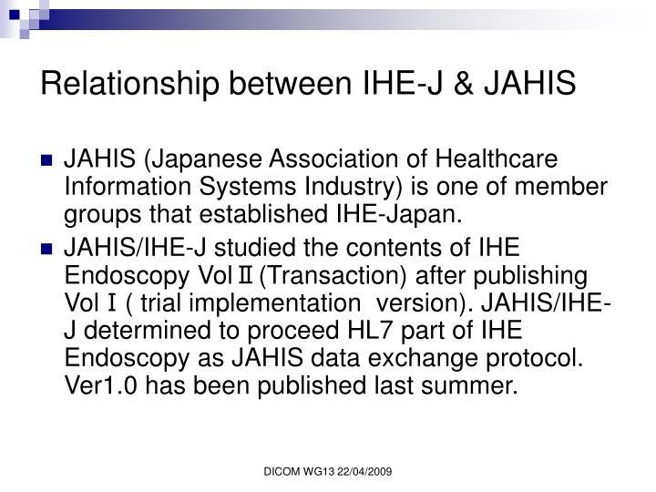 Relationship between IHE-J & JAHIS