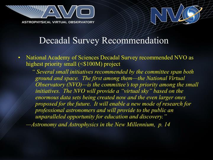 Decadal Survey Recommendation