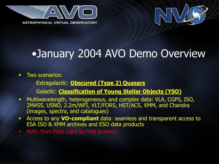 January 2004 AVO Demo Overview